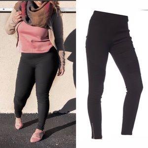 Denim - Ankle zipper Scuba skinny jeans